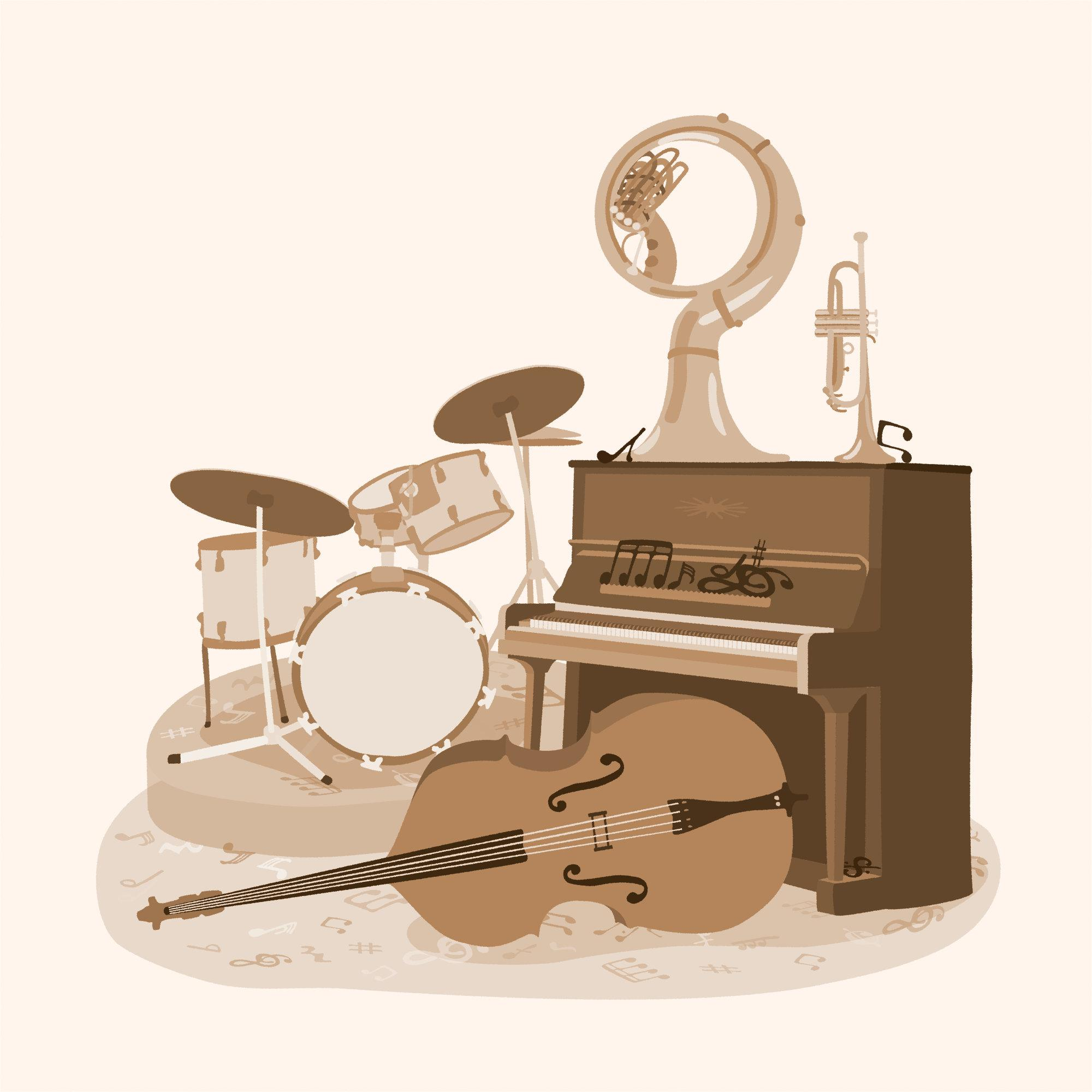 Image shows band instruments:   a drum kit, double bass, piano, sousaphone and trumpet.