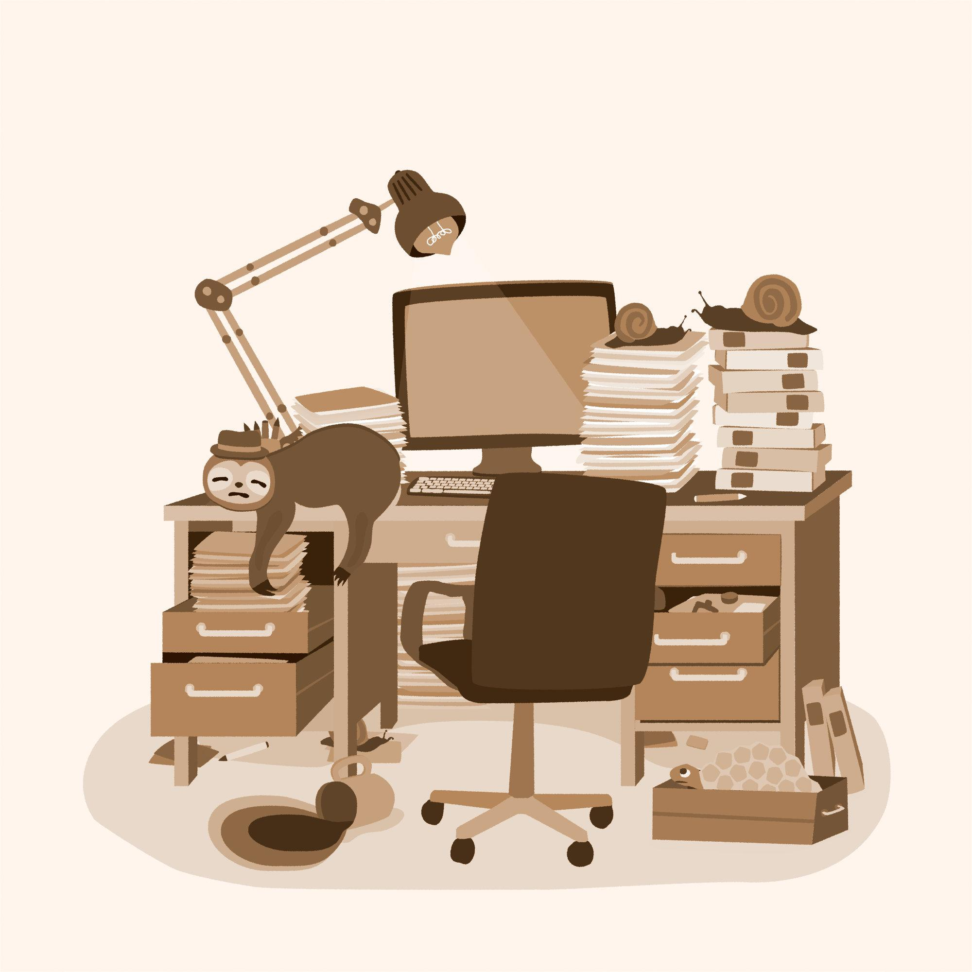 Image shows a cluttered desk with a sloth sloping off the side.